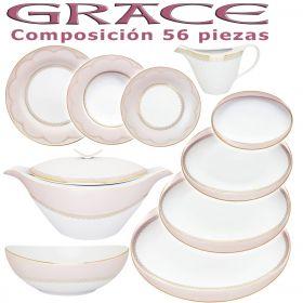 Vajilla Porcel 56 piezas Grace Rosa Nacar y Oro Diseño Modeno Estilo Clásico