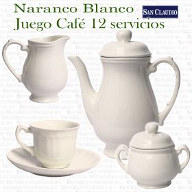 Naranco Blanco Lozas San Claudio Juego Café completo 12 servicios 27 piezas