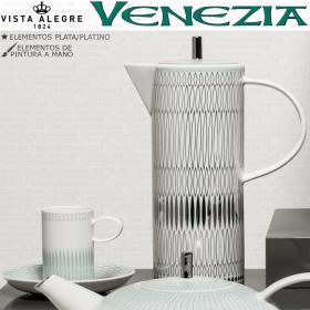 Juego cafe completo vista alegre VENEZIA decoración en plata y verde