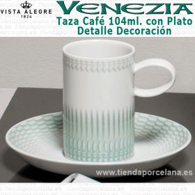Pack 6 Tazas Café con Plato VENEZIA verde Vista Alegre