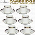 Set 6 Tazas de Café con Plato Vista Alegre Cambridge
