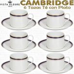 Cambridge Vista Alegre, juego de 6 Tazas de Té con Plato