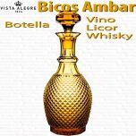 Botella Vino - Licor - Whisky Vidrio Vista Alegre Bicos / Picos AMBAR
