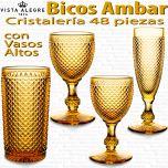 Cristalería 48 piezas con Vasos Altos Vista Alegre Bicos AMBAR
