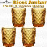 Pack 4 Vasos Bajos 10,7cm./280ml. Vidrio Vista Alegre PICOS / BICOS AMBAR