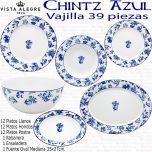 Chintz Vista Alegre Flor Azul Vajilla 39 piezas