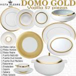 Domo Gold Vista Alegre Vajilla completa composición 56 - 57 piezas  colección Oro