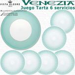 Juego Tarta / Pastas 6 servicios 7 piezas Verde Esmeralda Vista Alegre VENEZIA