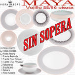 Vajilla colección MAYA Vista Alegre 55-56 piezas SIN SOPERA