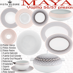 Vajilla Maya Completa Vista Alegre 57 piezas