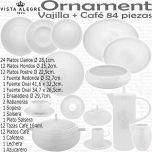ORNAMENT Vajilla Vista Alegre completa con juego de café 83 - 84 piezas