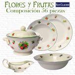 Vajilla 56 piezas Naranco Flores y Frutas San Claudio Loza