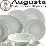 Servicio Mesa 40 piezas Santa Clara Pontesa, vajilla clásica, elegante y distinguida Augusta Blanco personalizable