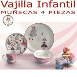 Vajilla Infantil 4 piezas Niña Muñecas