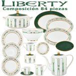 Vajilla + Juego Café Porcel 84 piezas Liberty Verde y Oro diseño moderno