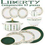 Vajilla Porcel 57 piezas Liberty Verde y Oro diseño actual