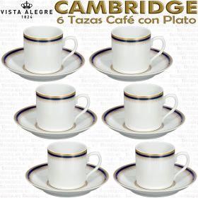 Set 6 Tazas de Café con Plato Vista Alegre Cambridge