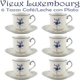 6 Tazas Café/Leche 20cl con Plato ALT VIEUX LUXEMBURG Villeroy & Boch