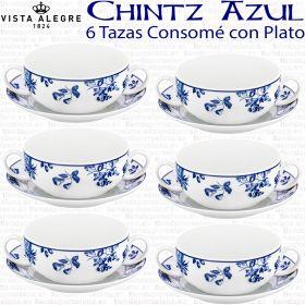 Vista Alegre CHINTZ Juego Consomé 6 servicios (12 piezas) 6 Tazas Consomé + 6 Platos Consomé modernos