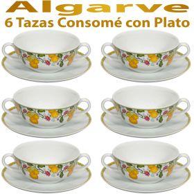 6 Tazas Consomé con Plato ALGARVE Vista Alegre