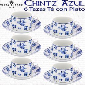 6 Tazas Té con Plato (12 piezas) Vista Alegre Chintz Azul Flores Cobalto