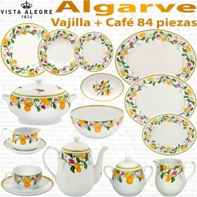 Algarve Vista Alegre Vajilla + servicio Café 84 piezas decorado Flores y Frutas