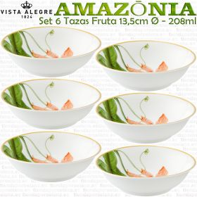 AMAZONIA Juego 6 Tazas para Fruta 13,5cm Ø - 208ml Vista Alegre
