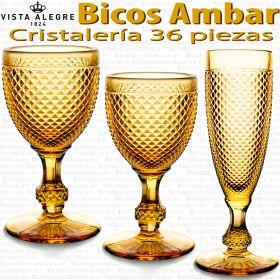 Cristalería 36 copas Vista Alegre Bicos / Picos AMBAR