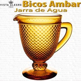 Jarra de Agua Vidrio Vista Alegre Bicos / Picos AMBAR