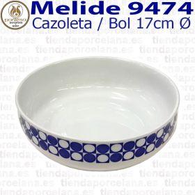 Cazoleta / Bol 17cm Ø Melide 9474 Porcelanas Pontesa