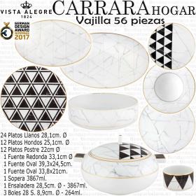 CARRARA HOGAR Vajilla Vista Alegre 57 piezas porcelanas imitación mármol