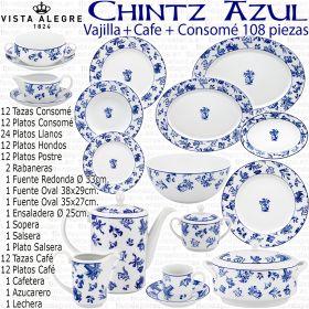 Vajillas Vista Alegre Chintz Azul Flores