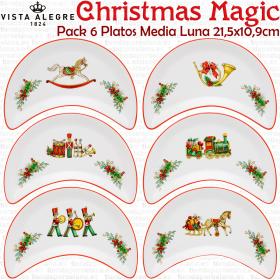 Juego 6 Platos Media Luna Ensalada Navidad Vista Alegre CHRISTMAS MAGIC