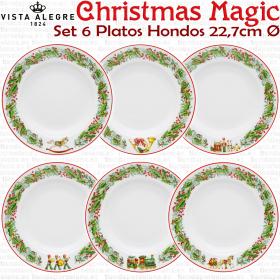 6 Platos Hondos Navidad Vista Alegre colección Christmas Magic