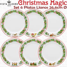 Christmas Magic Navidad colección 6 Platos Llanos Vista Alegre