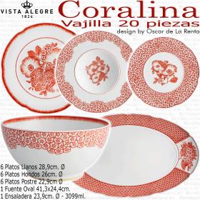 Vajilla colección Oscar de la Renta CORALINA 20 piezas Vista Alegre