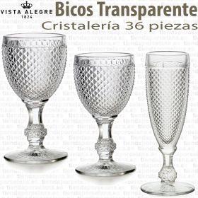 Bicos Picos Vista Alegre cristalería 36 piezas