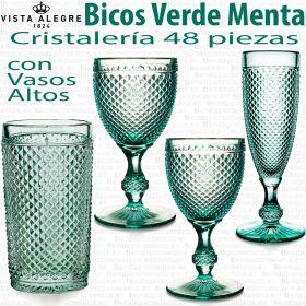 Cristalería 48 piezas con Vasos Altos Vista Alegre BICOS / PICOS VERDE MENTA