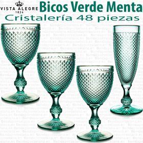 Cristalería 48 copas Vista Alegre Atlantis Bicos - Picos Verde Menta