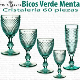 Cristaleria Bicos Picos vista alegre Verde Menta 60 piezas