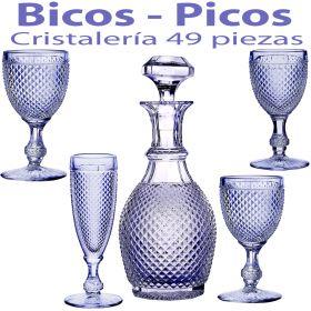 Cristalería + Botella 49 piezas Bicos Picos Azul Lavanda Vista Alegre Atlantis