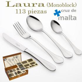 Cubertería LAURA 113 piezas Cruz de Malta Monoblock