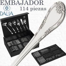 Cubertería completa 113 piezas Dalia Embajador con cuchillo de mesa en estuche