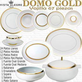 Domo Golg Oro Vista Alegre vajilla completa 66 - 67 piezas porcelana menaje mesa
