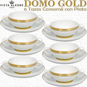 6 Tazas Consome Domo Oro Gold Vista Alegre