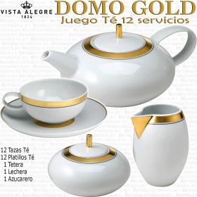Vista Alegre Domo Oro Gold Vista juego Te 12 servicios 27 piezas