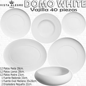 Vista Alegre DOMO WHITE / Blanco Vajilla 40 piezas con Platos de Pasta / Espaguetis
