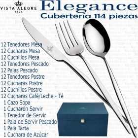 ELEGANCE Vista Alegre Cuberteria 114 piezas completa acero inox 18/10