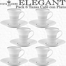 Pack 6 Tazas Café con Plato Vista Alegre ELEGANT