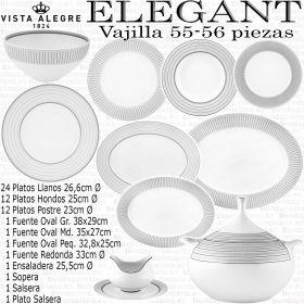 Vista Alegre ELEGANT Vajilla completa 55-56 piezas